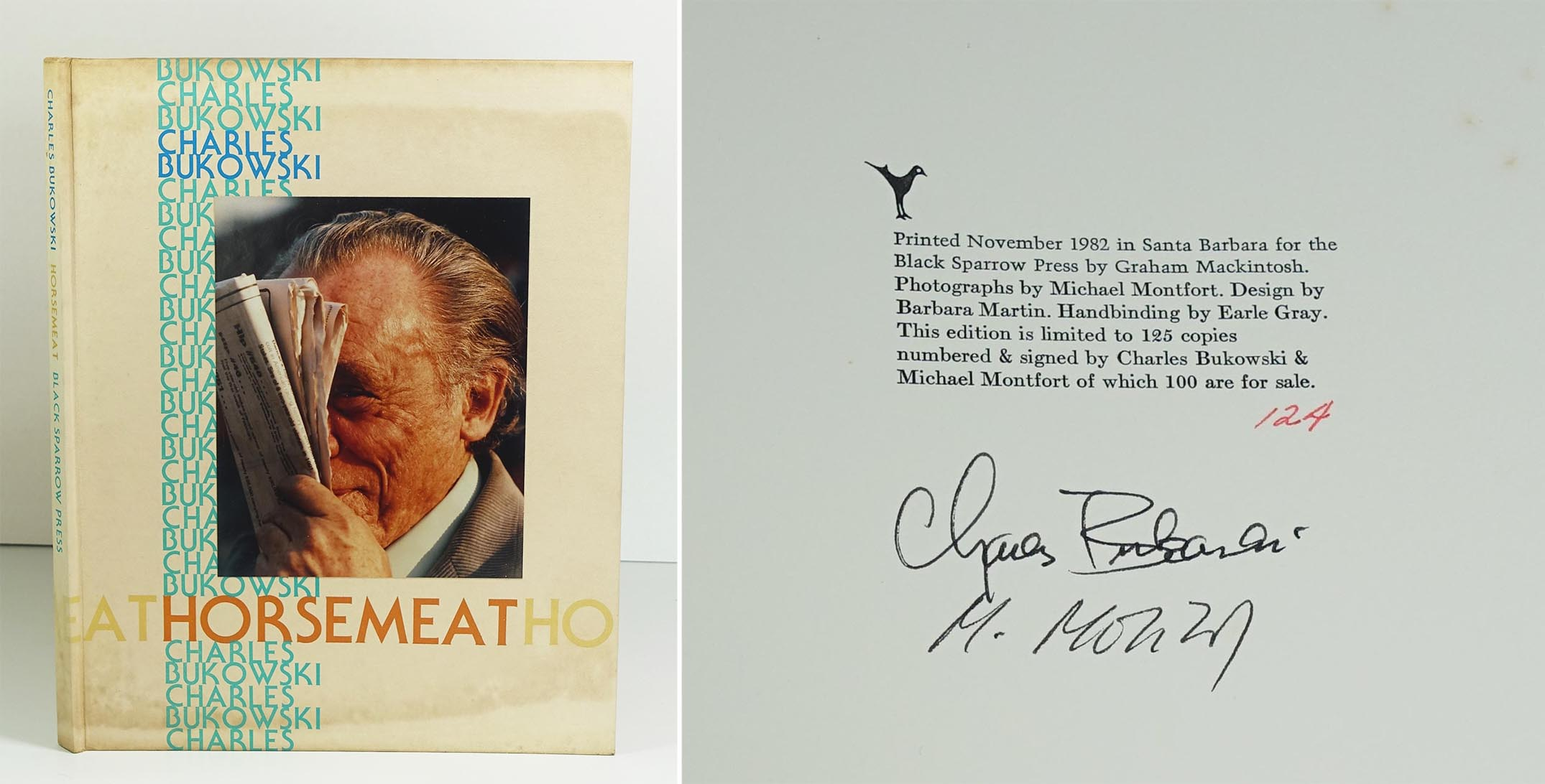BUKOWSKI Charles Horsemeat Black Sparrow Press, Santa Barbara, 1982. Reliure d